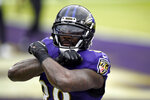 Baltimore Ravens wide receiver Dez Bryant reacts after catching a touchdown pass against the Jacksonville Jaguars during the first half of an NFL football game, Sunday, Dec. 20, 2020, in Baltimore. (AP Photo/Gail Burton)