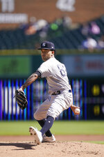 New York Yankees starting pitcher Deivi Garcia throws during the first inning of a baseball game against the Detroit Tigers, Saturday, May 29, 2021, in Detroit. (AP Photo/Carlos Osorio)