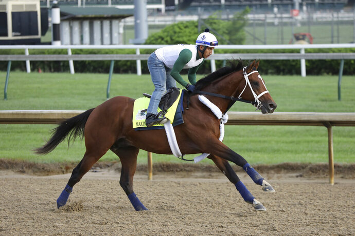 FILE - In this May 2, 2019, file photo, Maximum Security is seen during a morning training at Churchill Downs in Louisville, Ky. Maximum Security will try to move to the top of the 3-year-old thoroughbred division when he takes on scorching heat and a challenging field in the $1 million Haskell Invitational on Saturday, July 20, 2019, in Oceanport, N.J. (AP Photo/Gregory Payan, File)
