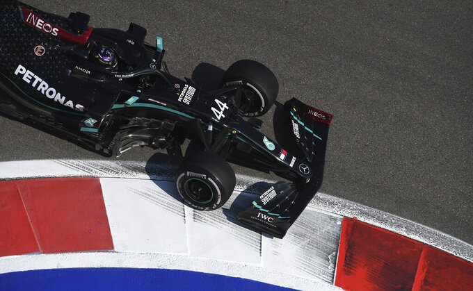 Mercedes driver Lewis Hamilton of Britain steers his car during the first practice session for the upcoming Russian Formula One Grand Prix, at the Sochi Autodrom circuit, in Sochi, Russia, Friday, Sept. 25, 2020. The Russian Formula One Grand Prix will take place on Sunday. (Kirill Kudryavtsev, Pool via AP)