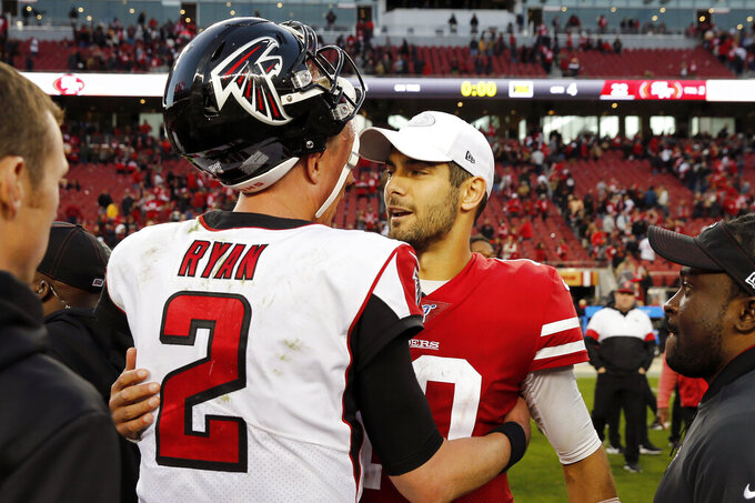 Atlanta Falcons quarterback Matt Ryan (2) greets San Francisco 49ers quarterback Jimmy Garoppolo after an NFL football game in Santa Clara, Calif., Sunday, Dec. 15, 2019. (AP Photo/John Hefti)