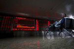 An elderly man sits near an electronic board displaying stock prices at a brokerage house in Beijing, Thursday, Sept. 19, 2019. Shares were mixed in Asia on Thursday, with Tokyo and Sydney logging modest gains after the Federal Reserve cut its benchmark interest rate for a second time this year, citing slowing global economic growth and uncertainty over U.S. trade conflicts. (AP Photo/Andy Wong)