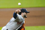 Houston Astros starting pitcher Lance McCullers Jr. throws against the Seattle Mariners in the fourth inning of a baseball game Monday, Sept. 21, 2020, in Seattle. (AP Photo/Elaine Thompson)