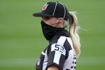 Down judge Sarah Thomas (53) watches on the field before the NFL Super Bowl 55 football game between the Kansas City Chiefs and Tampa Bay Buccaneers, Sunday, Feb. 7, 2021, in Tampa, Fla. (AP Photo/Chris O'Meara)