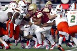 Boston College running back AJ Dillon (2) carries the ball during the first half of an NCAA college football game against Miami in Boston, Friday, Oct. 26, 2018. (AP Photo/Michael Dwyer)