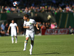 Sebastian Blanco with a header as the Portland Timbers host the San Jose Earthquakes in an MLS match at Providence Park in Portland, Oregon on Sunday, October 6, 2019. (Sean Meagher/The Oregonian via AP)