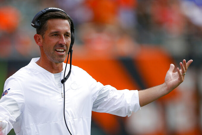 FILE - In this Sept. 15, 2019, file photo, San Francisco 49ers head coach Kyle Shanahan works the sideline during the second half an NFL football game against the Cincinnati Bengals in Cincinnati. Almost nothing has gone wrong for Shanahan and the unbeaten 49ers, who are in position to establish themselves as the favorite in the division that the Los Angeles Rams dominated since head coach Sean McVay's arrival. (AP Photo/Gary Landers, )
