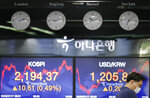 A currency trader wearing a face mask watches computer monitors near the screens showing the Korea Composite Stock Price Index (KOSPI), left, and the foreign exchange rate between U.S. dollar and South Korean won at the foreign exchange dealing room in Seoul, South Korea, Friday, July 17, 2020. Asian stock markets rebounded Friday after Wall Street closed lower amid uncertainty about the U.S. economic outlook. (AP Photo/Lee Jin-man)