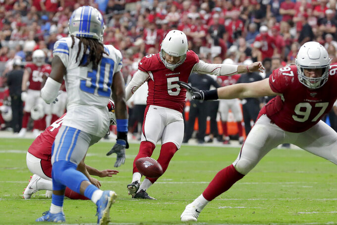 Arizona Cardinals kicker Zane Gonzalez (5) kicks a field goal against the Detroit Lions during the first half of an NFL football game, Sunday, Sept. 8, 2019, in Glendale, Ariz. (AP Photo/Darryl Webb)