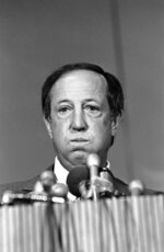FILE - In this Jan. 23, 1981, file photo, National Football League Commissioner Pete Rozelle listens to a reporters question about Rozelle's running battle with Oakland Raiders general managing partner Al Davis, in New Orleans. (AP Photo/Foley, File)