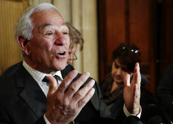 FILE - This photo from Wednesday April 25, 2018, shows former Major League Baseball coach and player Bobby Valentine in New York, speaking at a memorial for New York Mets Hall of Famer Rusty Staub. Former President George W. Bush is among high-profile Republicans who have donated to Valentine's independent campaign for mayor of Stamford, Connecticut. (AP Photo/Frank Franklin II, File)