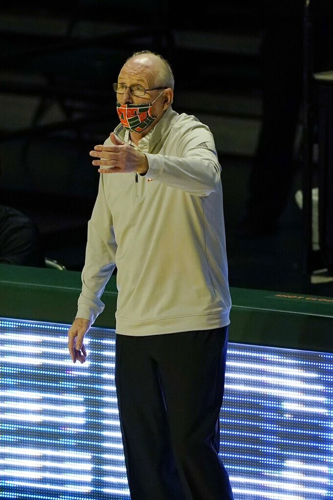 Miami head coach Jim Larranaga gestures during the first half of an NCAA college basketball game against North Carolina, Tuesday, Jan. 5, 2021, in Coral Gables, Fla.(AP Photo/Marta Lavandier)