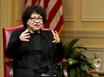 FILE- In this Feb. 14, 2019 file photo, United States Supreme Court Justice Sonia Sotomayor speaks during the 2019 Supreme Court Fellows Program annual lecture at the Library of Congress in Washington. Sotomayor is among 10 people who will be inducted into the National Women's Hall of Fame during a ceremony on Saturday, Sept. 14, 2019. (AP Photo/Jose Luis Magana, File)