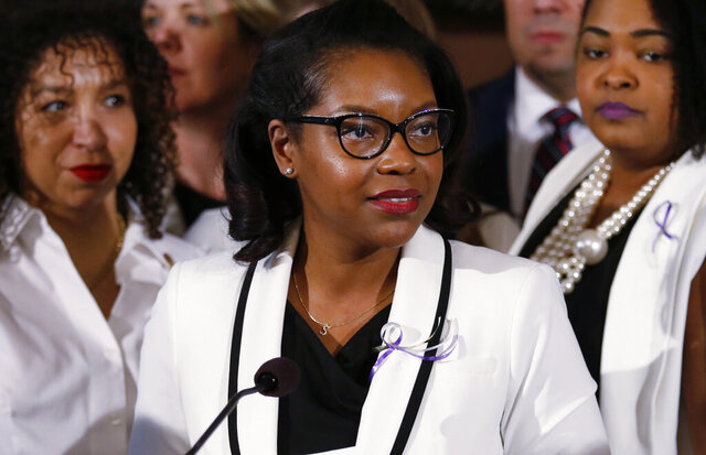FILE - In this March 5, 2019 file photo Ohio House minority leader Emilia Sykes delivers the Democrat's response to the Ohio Governor Mike DeWine's Ohio State of the State address at the Ohio Statehouse in Columbus, Ohio. Only about a third of U.S. states have enacted laws addressing police use-of-force in the six years since a national protest movement emerged over the killings of black men by white police officers. Sykes criticized GOP lawmakers this week for failing to enact laws recommended by former Ohio Gov. John Kasich's task force that hold police accountable.  (AP Photo/Paul Vernon)