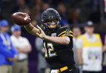 Appalachian State quarterback Zac Thomas (12) passes in the first half of the New Orleans Bowl NCAA college football game against Middle Tennessee in New Orleans, Saturday, Dec. 15, 2018. (AP Photo/Gerald Herbert)