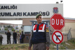 Members of Turkish forces guard the entrance to the prison complex in Aliaga, Izmir province, western Turkey, where jailed U.S. pastor Andrew Craig Brunson is held and is appearing on his trial at a court inside the complex, Monday, April 16, 2018. Brunson, 50, a U.S. evangelical pastor from North Carolina, was arrested in December 2016 for alleged links to both an outlawed Kurdish insurgent group and the network of the U.S.-based Muslim cleric who Turkey blames for masterminding a failed military coup that year. He has denied all allegations. (AP Photo/Lefteris Pitarakis)