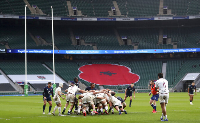 A view of England and Georgia players, during a scrum, during the Autumn Nations Cup rugby uinion match between England and Georgia,  at Twickenham, south west London, Saturday, Nov. 14, 2020. (David Davies/PA via AP)