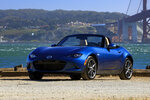 This undated photo provided by Mazda shows a 2019 Mazda MX-5 Miata. The Miata's small size and nimble handling contributes to the fun. Its simple fabric top that can be lowered in just a few seconds. (James Halfacre/Mazda via AP)
