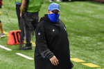 Detroit Lions head coach Matt Patricia walks off the field after an NFL football game against the New Orleans Saints, Sunday, Oct. 4, 2020, in Detroit. The Saints won 35-29. (AP Photo/Jose Juarez)