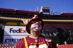 Fan Chris Bryant, from Staunton, Va., in seating area at FedEX Field before the start of an NFL football game between the New York Giants and Washington Football Team, Sunday, Nov. 8, 2020, in Landover, Md. (AP Photo/Susan Walsh)