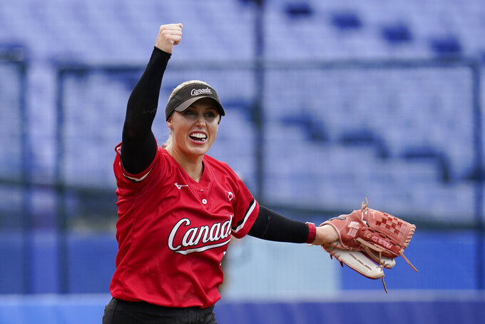 Canada's Danielle Lawrie reacts after a softball game against Mexico at the 2020 Summer Olympics, Tuesday, July 27, 2021, in Yokohama, Japan. Canada won 3-2. (AP Photo/Sue Ogrocki)