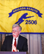 National security adviser John Bolton gestures while discussing administration new policy during a speech, Wednesday, April 17, 2019, in Coral Gables, Fla., at the Bay of Pigs Veterans Association on the 58th anniversary of the United States' failed 1961 invasion of the island, an attempt to overthrow the Cuban government. The Trump administration on Wednesday intensified its crackdown on Cuba, Nicaragua and Venezuela, rolling back Obama administration policy and announcing new restrictions and sanctions against the three countries whose leaders national security adviser John Bolton dubbed the