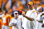 Tennessee coach Josh Heupel shouts to players during the first half of the team's NCAA college football game against Bowling Green on Thursday, Sept. 2, 2021, in Knoxville, Tenn. (AP Photo/Wade Payne)