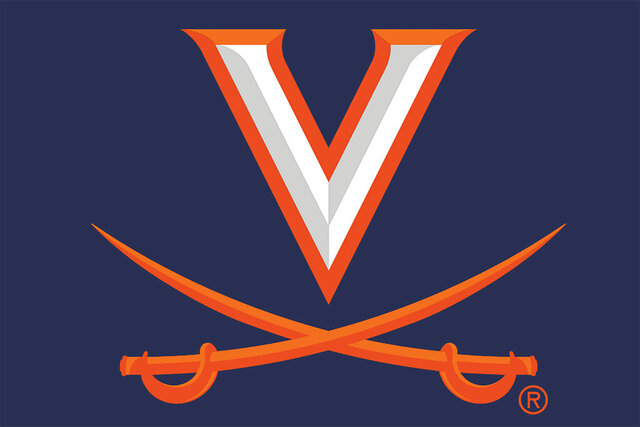 This updated logo was provided by the University of Virginia Athletics Department Tuesday, June 16, 2020. On Monday the University of Virginia announced they would change their new athletics logos to avoid a design element that refers to the school's history with slavery. (University of Virginia Athletics Department via AP)