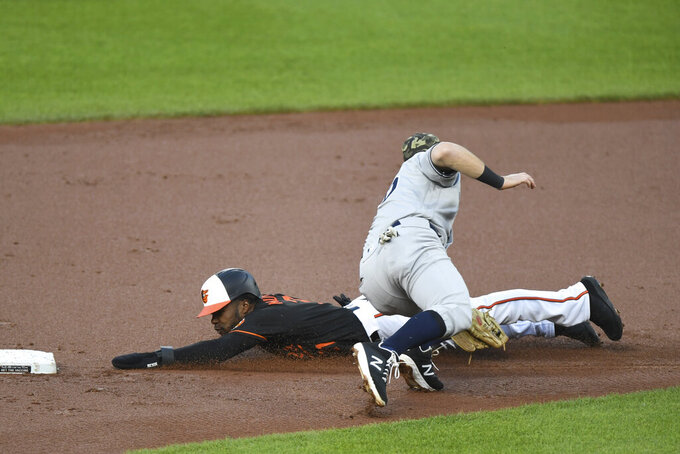 Baltimore Orioles' Cedric Mullins is tagged out by New York Yankees second baseman DJ LeMahieu while attempting to steal second during the first inning of a baseball game on Friday, May 14, 2021, in Baltimore. (AP Photo/Terrance Williams)