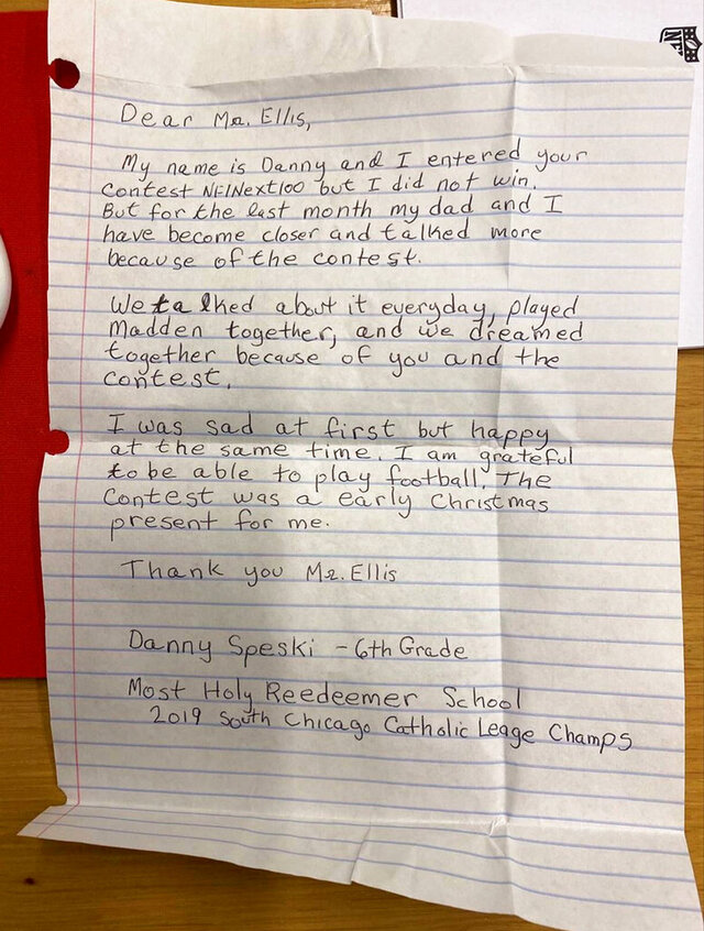 A photo provided by the NFL shows a letter from Danny Speski, a sixth-grader in Chicago, to the league about his experience entering a Super Bowl contest. Following the letter, Danny received an autographed football from New York Giants running back Saquon Barkley and a handwritten letter from NFL Commissioner Roger Goodell. (NFL via AP)