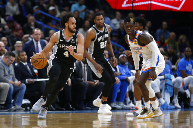 San Antonio Spurs' Derrick White (4) drives the ball against Oklahoma City Thunder's Dennis Schroder (17) during the first half of an NBA basketball game in Oklahoma City, Tuesday, Feb. 11, 2020. (AP Photo/Garett Fisbeck)