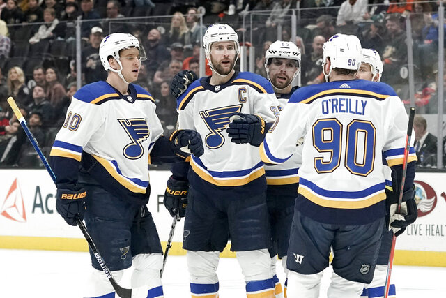 St. Louis Blues defenseman Alex Pietrangelo (27) celebrates after scoring against the Anaheim Ducks during the first period of an NHL hockey game in Anaheim, Calif., Wednesday, March 11, 2020. (AP Photo/Chris Carlson)