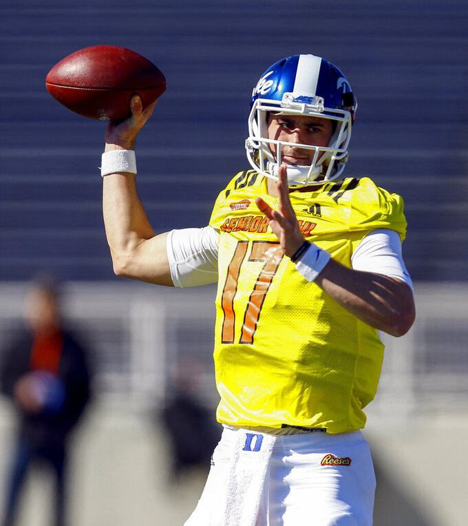 North quarterback Daniel Jones of Duke (17) throws a pass during practice for Saturday's Senior Bowl NCAA college football game, Thursday, Jan. 24, 2019, in Mobile, Ala. (AP Photo/Butch Dill)