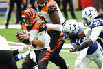 Cincinnati Bengals quarterback Joe Burrow (9) is sacked by dIndianapolis Colts' DeForest Buckner (99) during the second half of an NFL football game, Sunday, Oct. 18, 2020, in Indianapolis. (AP Photo/AJ Mast)