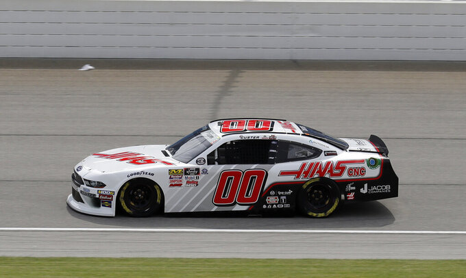 Cole Custer drives on the track during a NASCAR Xfinity Series auto race practice at Chicagoland Speedway in Joliet, Ill., Friday, June 28, 2019. (AP Photo/Nam Y. Huh)