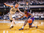 Butler forward Sean McDermott (22) forces DePaul guard Jalen Coleman-Lands (5) to stop his drive to the basket during the second half of an NCAA college basketball game, Saturday, Feb. 29, 2020, in Indianapolis. (AP Photo/Doug McSchooler)