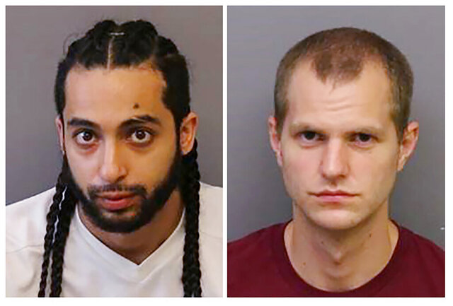This combination of two undated booking photos provided by the Essex County Prosecutor's Office in Newark N.J., shows Julio Rodriguez, left, and Eric Stone. Both men have been charged with vandalizing police vehicles during a demonstration in Newark, N.J., on May 30, 2020. (Essex County Prosecutor's Office via AP)