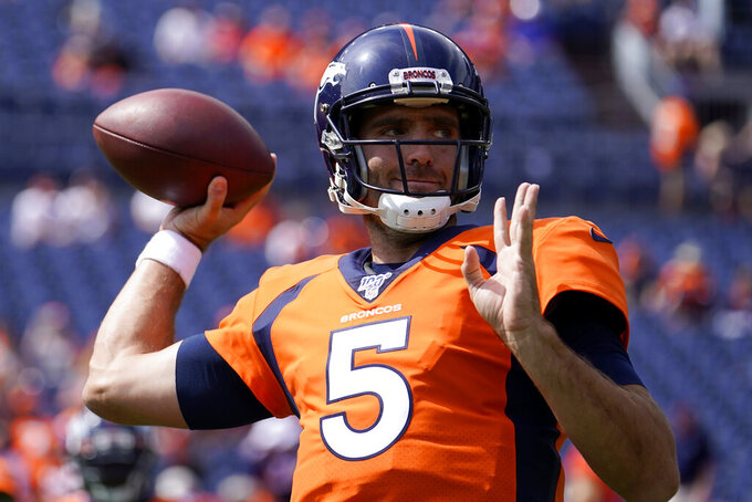 Denver Broncos quarterback Joe Flacco (5) warms up prior to an NFL football game against the Chicago Bears, Sunday, Sept. 15, 2019, in Denver. (AP Photo/Jack Dempsey)