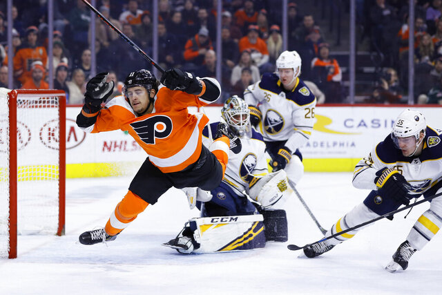 Philadelphia Flyers' Travis Konecny, left, is tripped up by Buffalo Sabres' Rasmus Ristolainen, right, during the second period of an NHL hockey game Thursday, Dec. 19, 2019, in Philadelphia. (AP Photo/Matt Slocum)