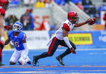 San Diego State safety Tariq Thompson, right, comes up with the ball after intercepting a Boise State pass in the first half of an NCAA college football game, Saturday, Oct. 6, 2018, in Boise, Idaho. (AP Photo/Steve Conner)