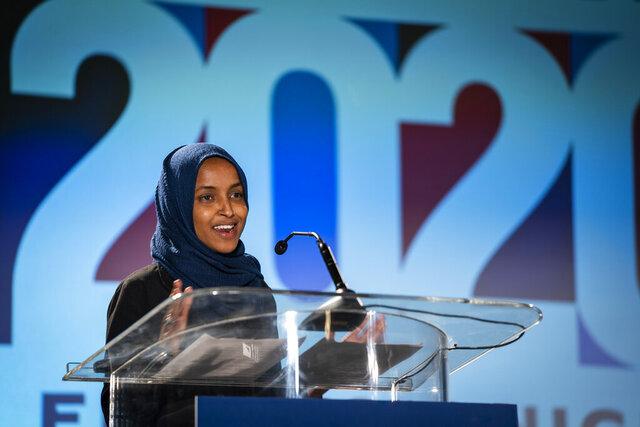 U.S. Rep. Ilhan Omar, D-Minn., speaks to the media during an Election Night watch party in St. Paul, Minn., Tuesday, Nov. 3, 2020. (Leila Navidi/Star Tribune via AP)