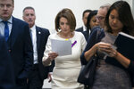 Speaker of the House Nancy Pelosi, D-Calif., departs a meeting with the Democratic Caucus where members heard from former CIA Director John Brennan about the situation in Iran, at the Capitol in Washington, Tuesday, May 21, 2019. (AP Photo/J. Scott Applewhite)
