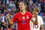 United States' Carli Lloyd celebrates her goal against Portugal during the first half of a soccer match Tuesday, Sept. 3, 2019, in St. Paul, Minn. (AP Photo/Bruce Kluckhohn)