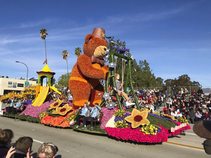 The Shriners Hospitals for Children float rides the 131st Rose Parade route in Pasadena, Calif., Wednesday, Jan. 1, 2020. The theme of this year's parade is