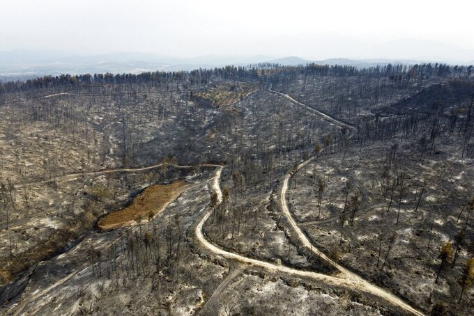 FILE - This is a Wednesday, Aug. 11, 2021 file aerial photo of the burnt forest in Agia Anna village on Evia island, about 181 kilometers (113 miles) north of Athens, Greece. Greece's center-right government has created a new ministry to address the impact of climate change and named former European Union commissioner Christos Stylianides as minister. (AP Photo/Michael Varaklas, File)