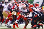 San Francisco 49ers running back Matt Breida (22) runs the ball during the second half an NFL football game, Sunday, Sept. 15, 2019, in Cincinnati. (AP Photo/Gary Landers)
