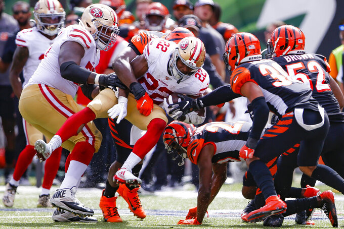 San Francisco 49ers running back Matt Breida (22) runs the ball during the second half an NFL football game, Sunday, Sept. 15, 2019, in Cincinnati. (AP Photo/Gary Landers)
