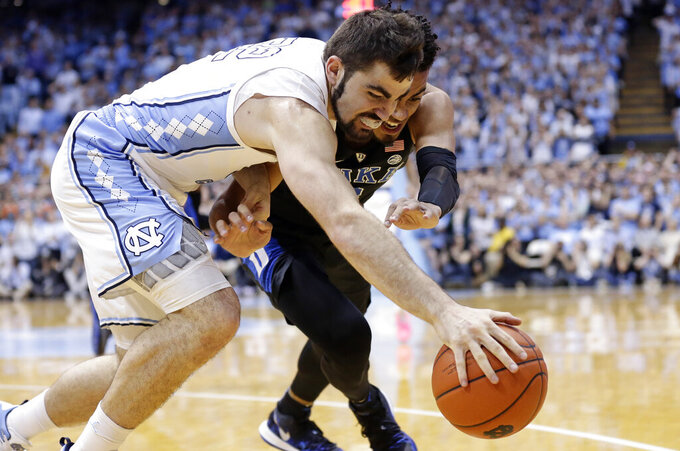 No. 3 UNC tops No. 4 Duke 79-70 to earn share of ACC title