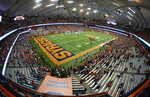 An overall view of the Carrier Dome during the second half of an NCAA college football game between Syracuse and Louisville in Syracuse, N.Y., Friday, Nov. 9, 2018. (AP Photo/Adrian Kraus)