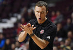 Massachusetts head coach Matt McCall reacts during the first half of an NCAA college basketball game against St. John's, Sunday, Nov. 24, 2019, in Uncasville, Conn. (AP Photo/Jessica Hill)
